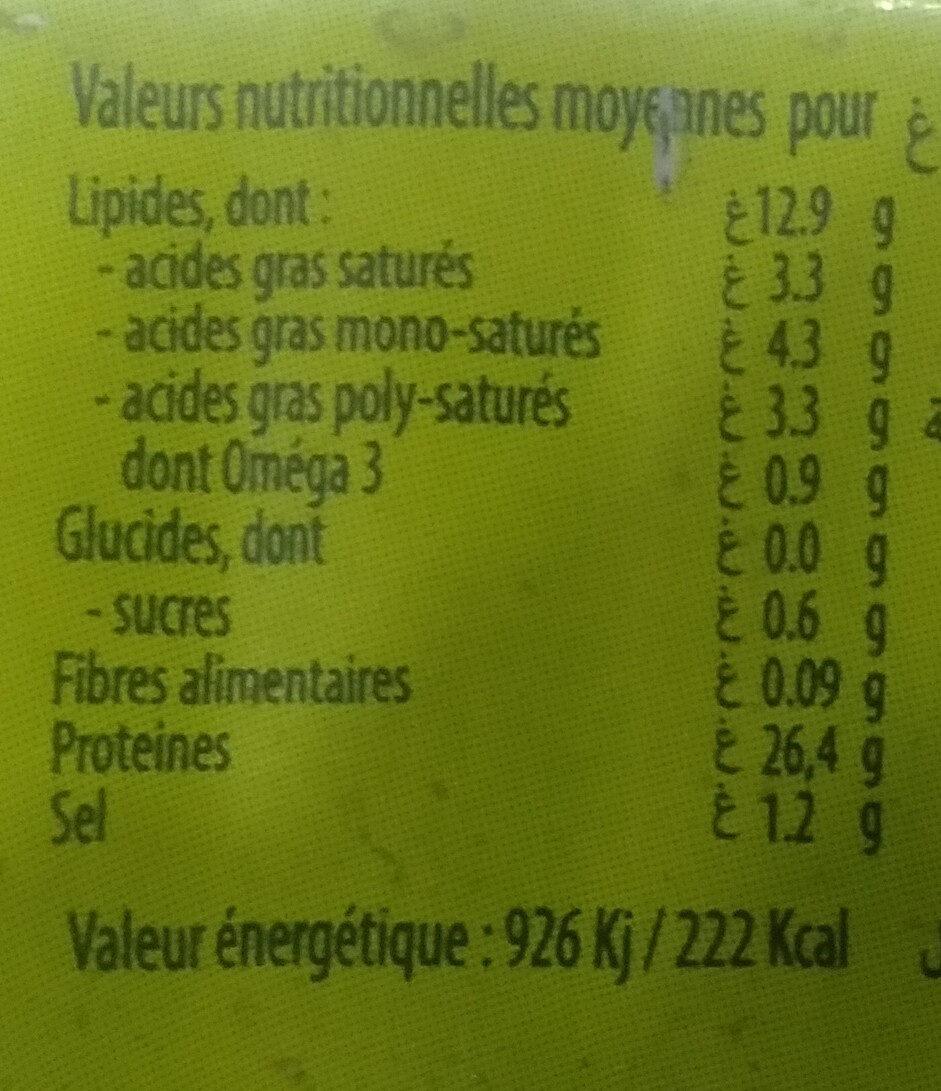 Sardines au citron - حقائق غذائية - fr