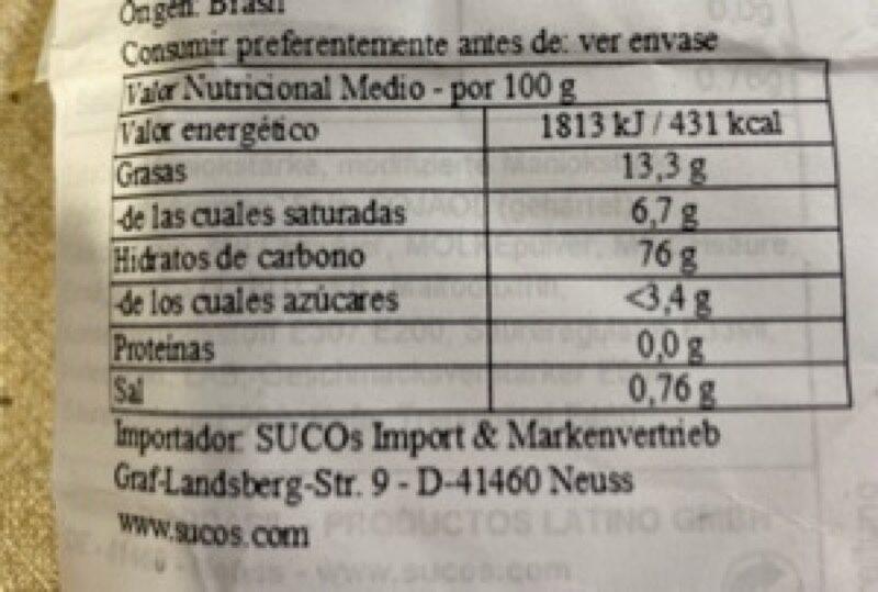 - Informação nutricional - es