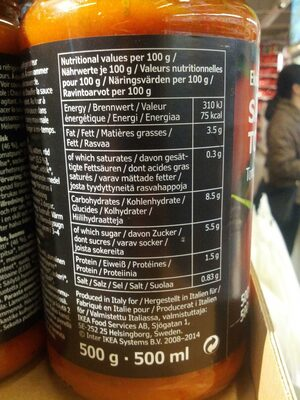 Ekologisk Sas Tomat - Nutrition facts
