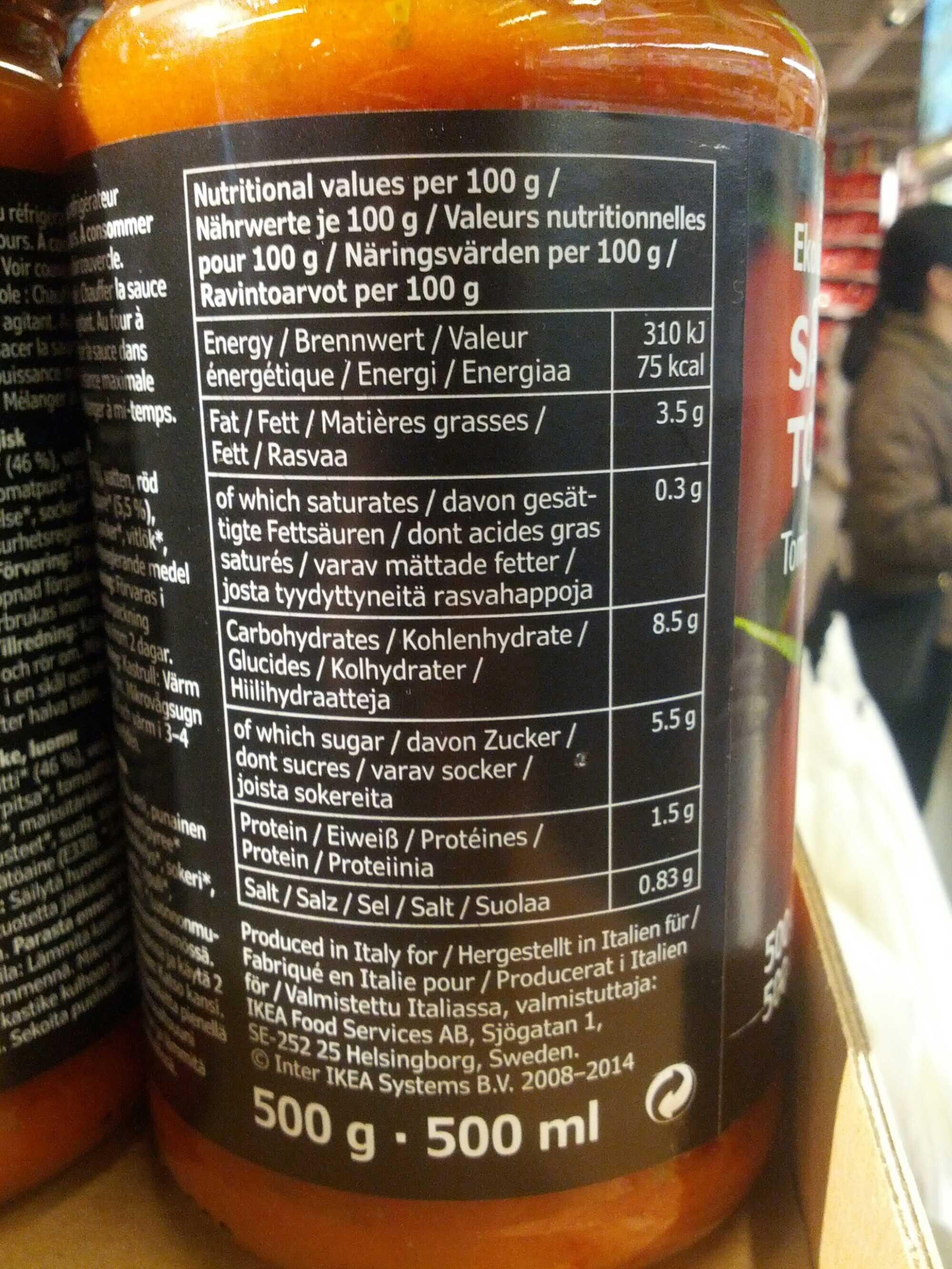 Ekologisk Sas Tomat - Informations nutritionnelles