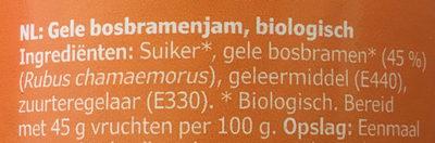Cloudberry jam, organic - Ingrediënten - nl