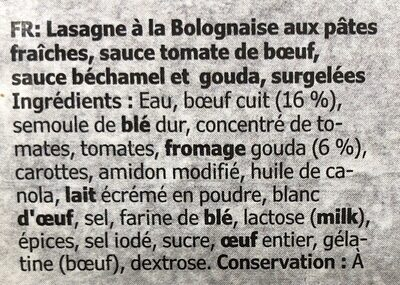 Lasagne bolognaise au bœuf - Ingredients - fr