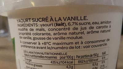 Yaourt Vanille - Ingredients