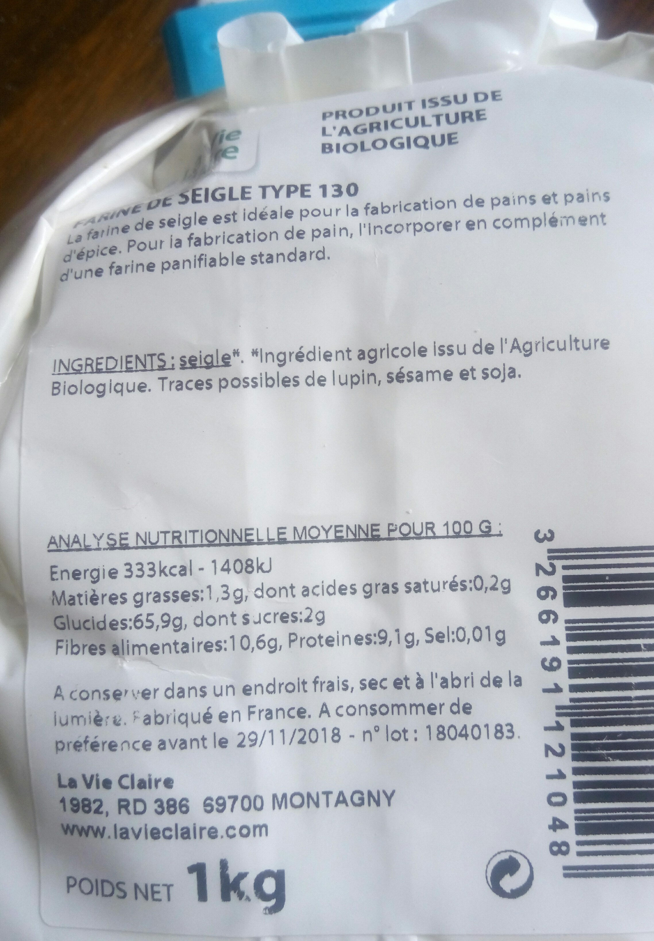 farine de seigle - Ingrédients - fr
