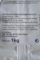 farine de seigle - Informations nutritionnelles - fr