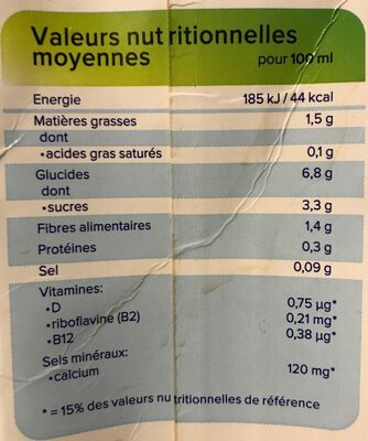 Avoine original - Informations nutritionnelles