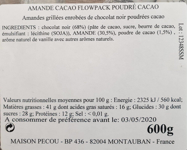 Amande cacao pecou - Nutrition facts