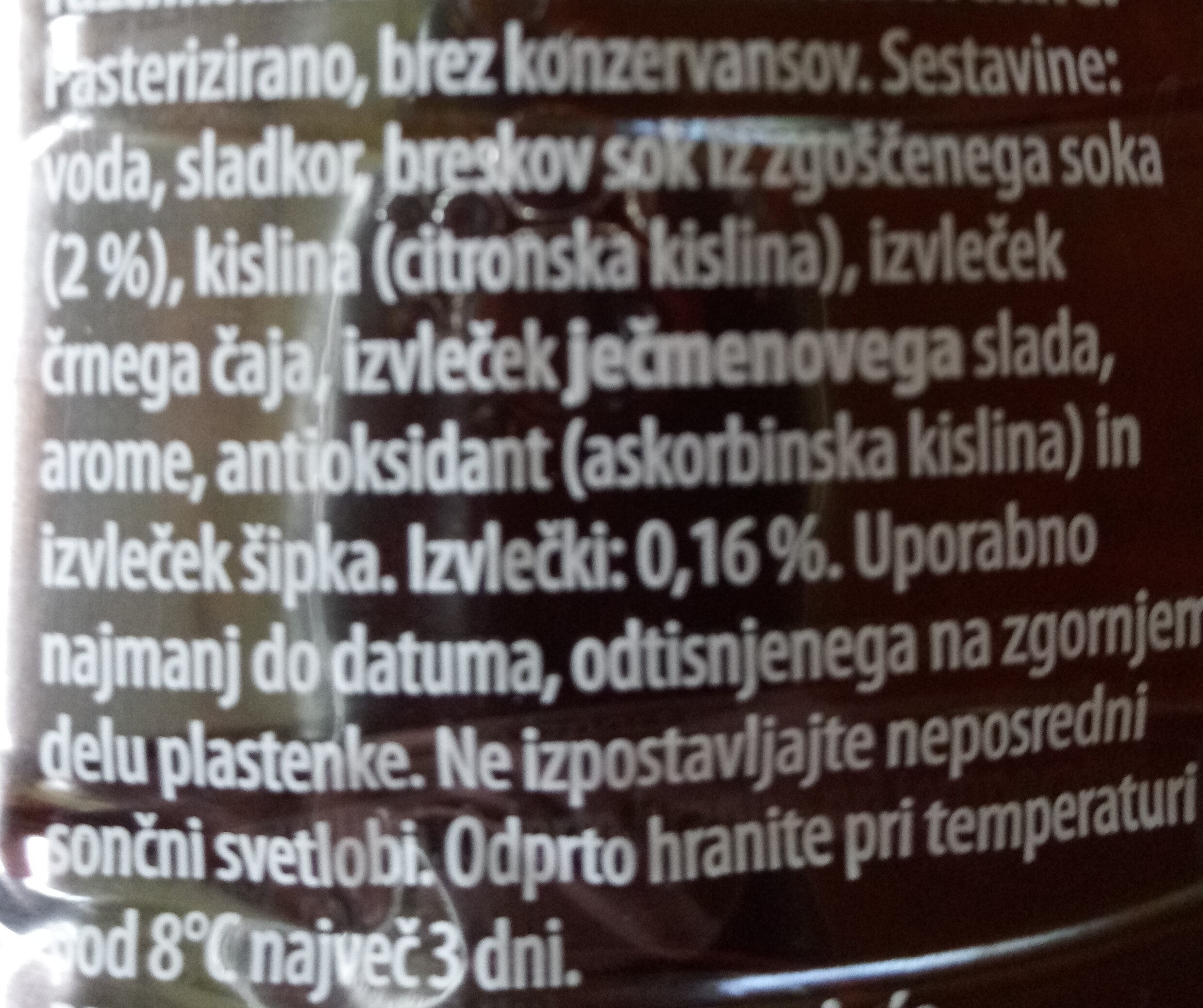 Sola Ice Tea breskev peach - Ingredients