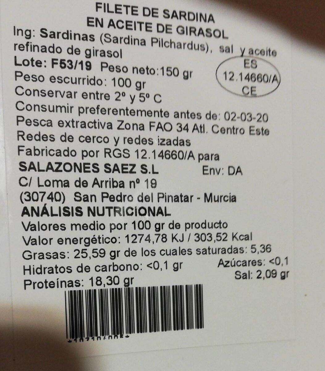 Filete de sardina en aceite de girasol - Informations nutritionnelles - es