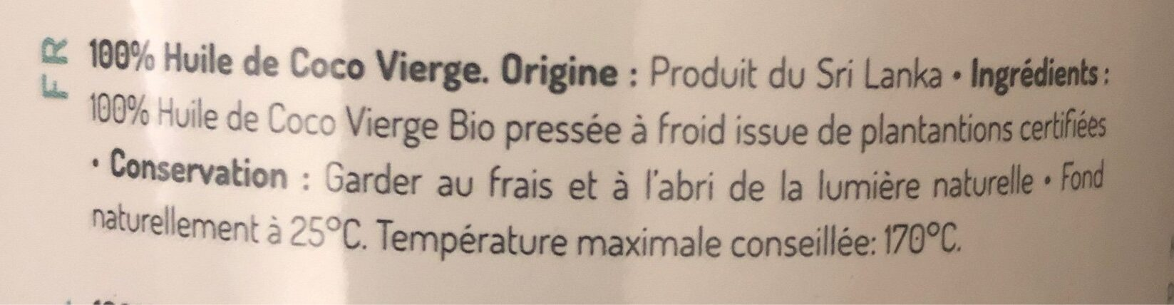 Coconut oil - Ingrédients - fr