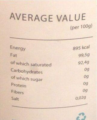 Coconut oil - Informations nutritionnelles - fr