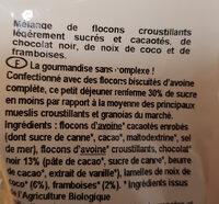 Granola chocolat coco et éclats de frambroise - Ingrédients - fr