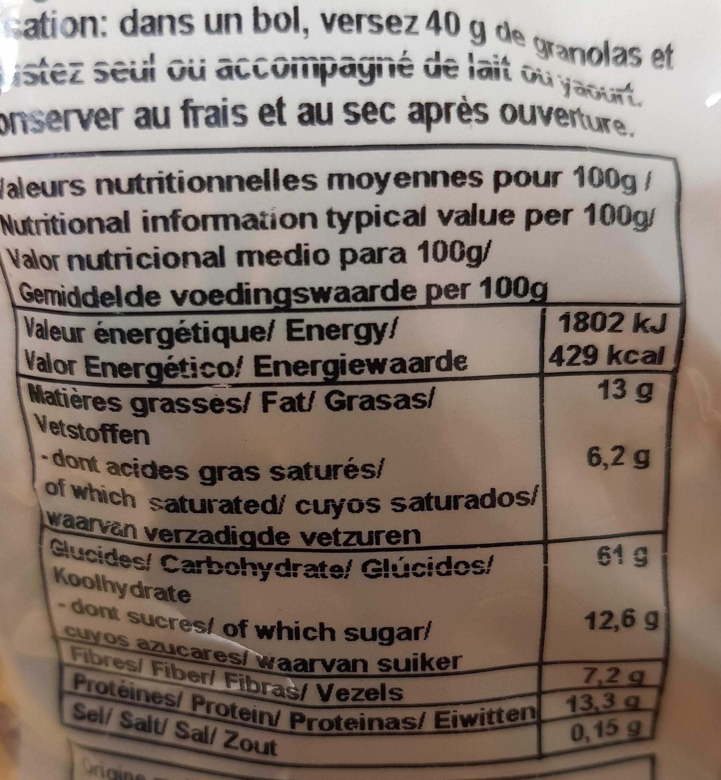 Granola chocolat coco et éclats de frambroise - Informations nutritionnelles - fr