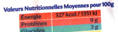 Apérivrais saveurs provençales - poivrons - thym - ciboulette - Nutrition facts - fr
