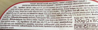 CERISE Yaourt onctueux à la cerise avec sa pointe d'amande sur lit aux fruits - Ingrédients