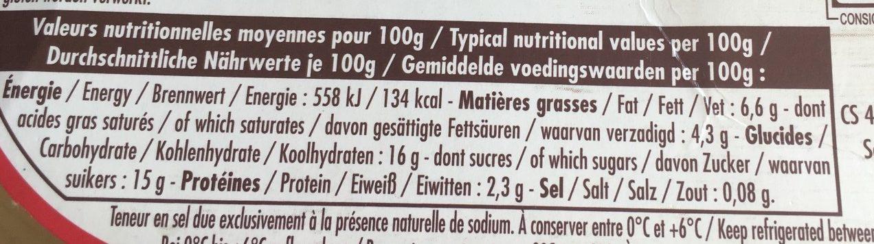 CERISE Yaourt onctueux à la cerise avec sa pointe d'amande sur lit aux fruits - Informations nutritionnelles