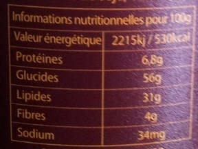Chocopain - Informations nutritionnelles