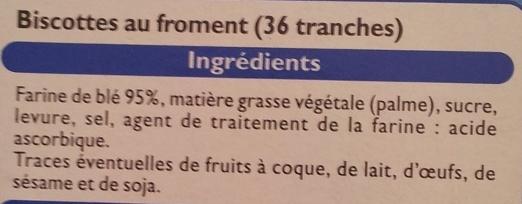 Biscottes au froment - Ingrediënten