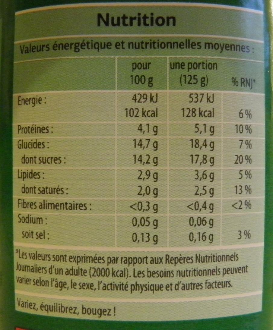 Bifidus brassé aux fruits - Informations nutritionnelles - fr