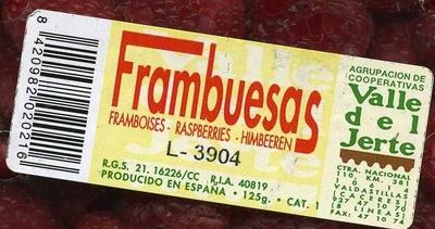 "Frambuesas ""Valle del Jerte"" - Ingredientes"