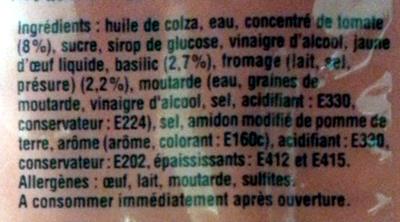Sauce Fromagère à la Tomate et au Basilic - Ingrédients - fr