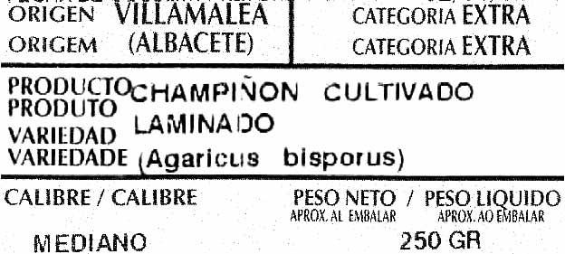 "Champiñones laminados ""Angelita"" - Ingrédients"