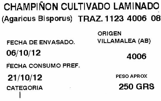 Champiñones laminados - Ingrédients - es