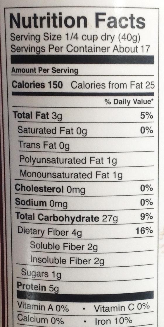 Irish style oats - Nutrition facts