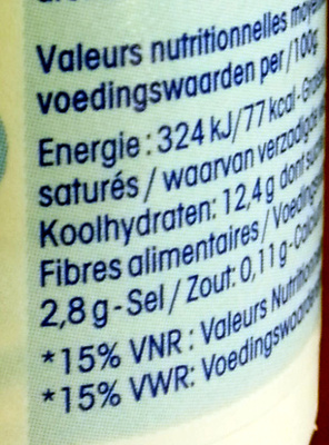Mini Yop, Goût Fraise - Nutrition facts