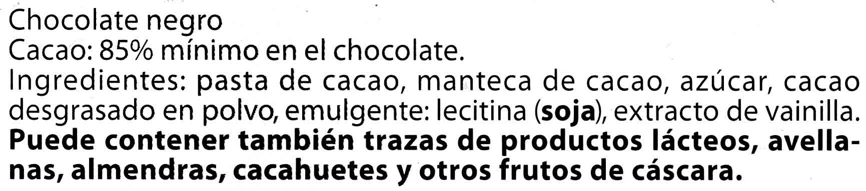 Chocolate negro 85% cacao - Ingrediënten
