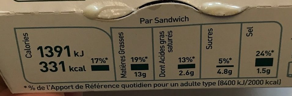 Filet-O-Fish - Nutrition facts