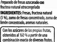 "Fresas congeladas ""Golden Fruit"" - Ingrédients"