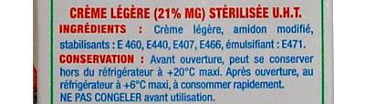 Crème Semi Epaisse Gourmande 21% M.G. - Ingredients