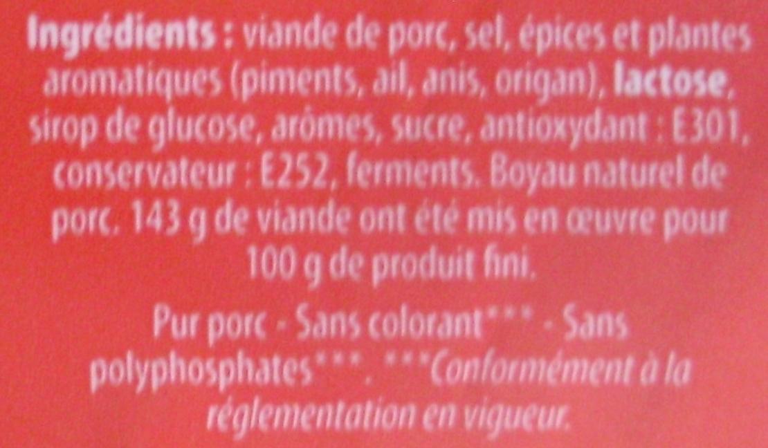 Chorizo Supérieur Fort [même code barre 26013077 que Chorizo Supérieur Doux, voir 26013077] - Ingrédients - fr