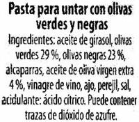 Bruschetta con olivas - Ingrédients - es