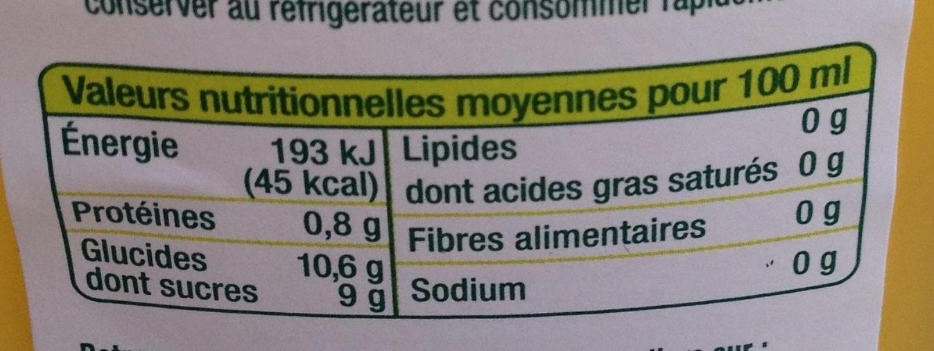Jus d'orange à base de concentré - Informations nutritionnelles - fr
