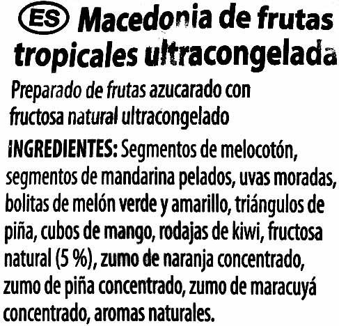 """Mezcla de frutas tropicales congeladas """"Golden Fruit"""" - Ingrédients"""