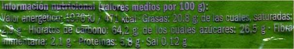 """Mantecados de aceite de oliva """"DOR"""" - Información nutricional - es"""