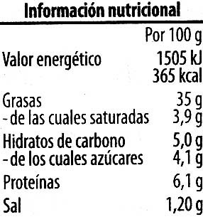 Paté vegetariano Pimiento Calabacín Tomate - Voedingswaarden - es