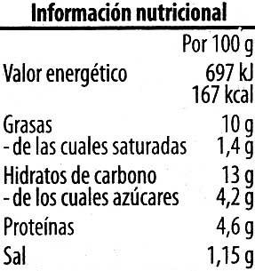 Paté vegetariano Pimiento Anacardo - Informació nutricional