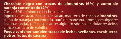 Chocolate Negro Almendras Naranja - Ingredientes - es