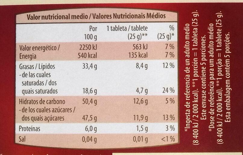 Chocolate Negro Almendras Naranja - Información nutricional - es