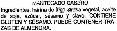 """Mantecados con grasa vegetal """"La Flor de Antequera"""" - Ingredients"""