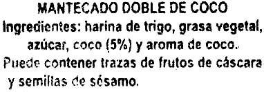 """Mantecados de coco con grasa vegetal """"La Flor de Antequera"""" - Ingredients - es"""