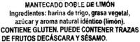 """Mantecados de limón con grasa vegetal """"La Flor de Antequera"""" - Ingredients"""