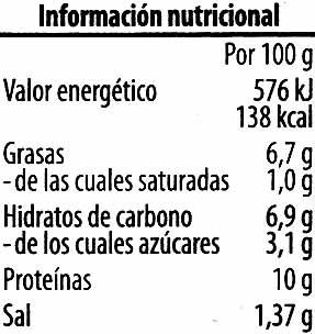 Paté vegetariano Judías Tofu ahumado - Información nutricional