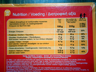 Hachis Parmienter Family - Informations nutritionnelles