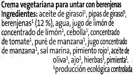 Crema vegetariana Berenjena - Ingredients - es