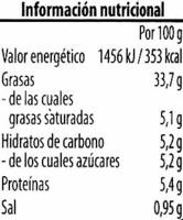 Crema vegetariana Berenjena - Informació nutricional - es