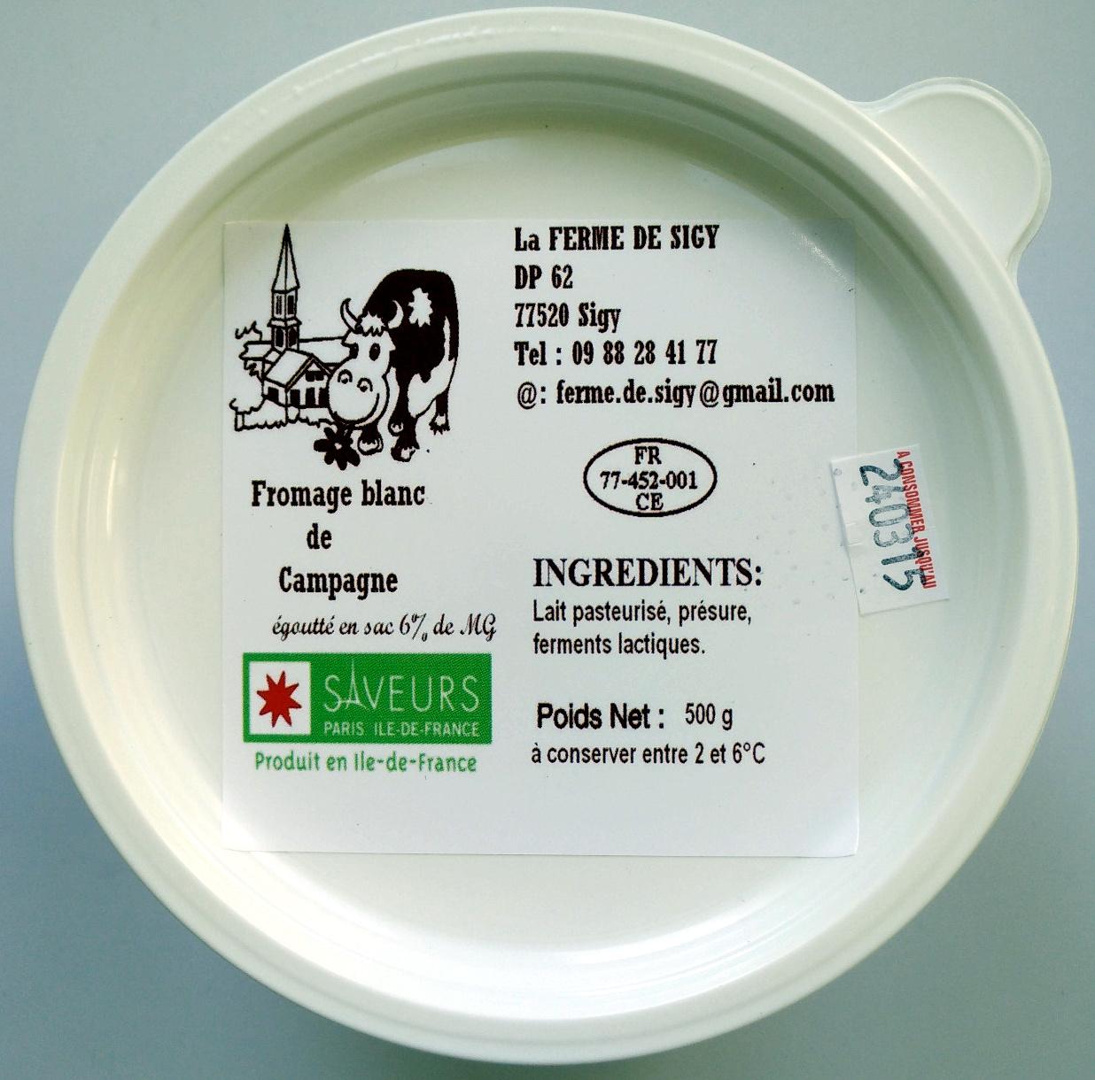 Fromage blanc de campagne égoutté en sac 6% de MG - Produit - fr